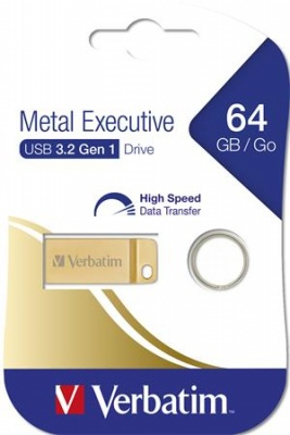 "Pendrive, 64GB, USB 3.0,  VERBATIM ""Executive Metal"" arany"